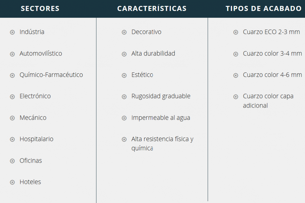Características Cuarzo Color